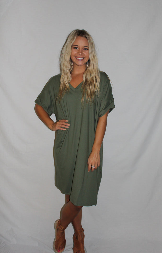 Amber Dress in Dark Olive