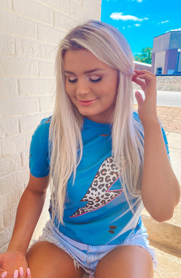 Leopard Bolt Tee in Blue