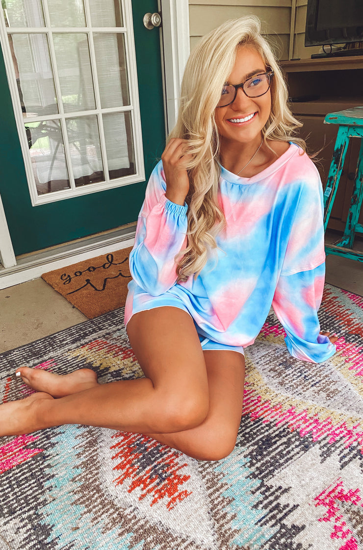 Sweet Dreams Top in Dark Pink and Blue