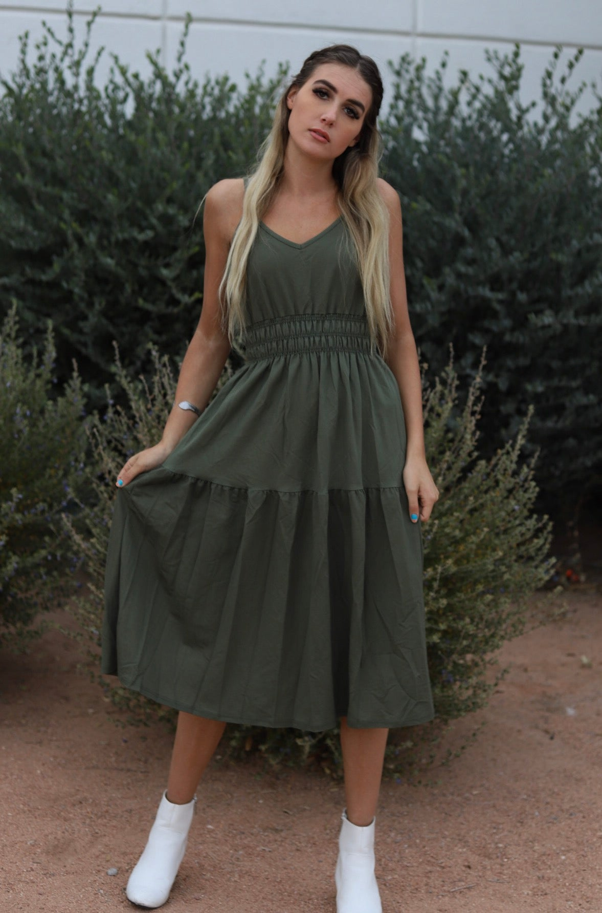 Snatched Dress in Green
