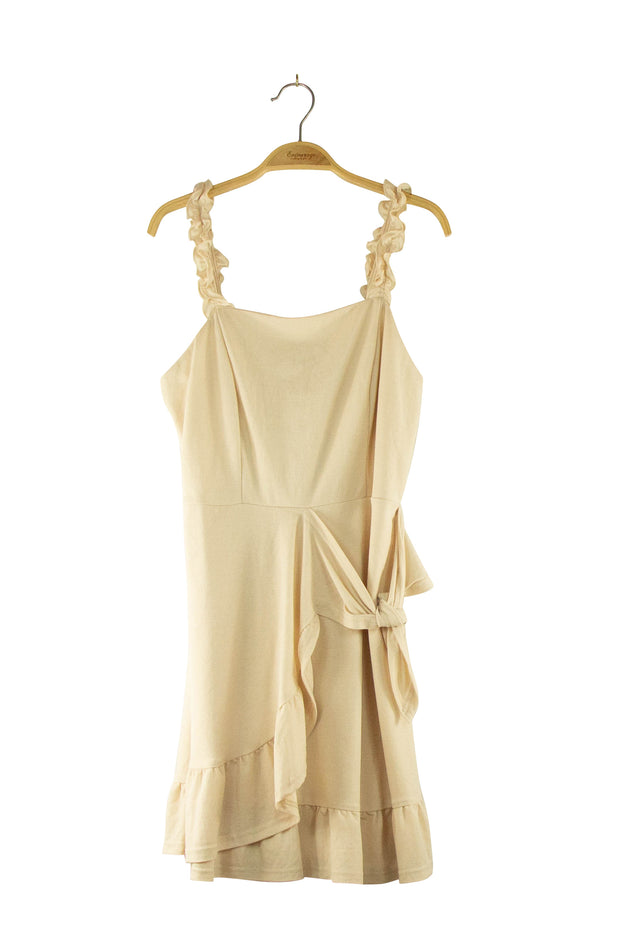 Pomp Dress in Tan