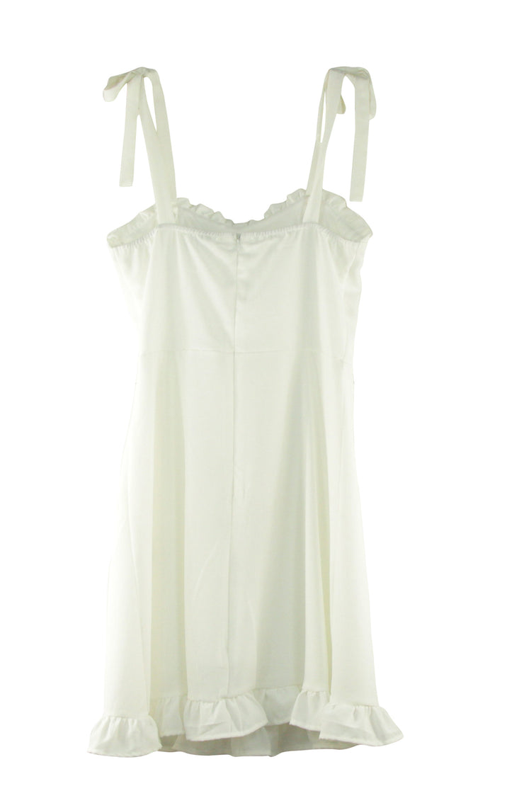 Ruffled Round the Edges Dress in White