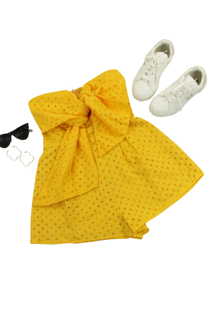 Bow Down Romper in Yellow