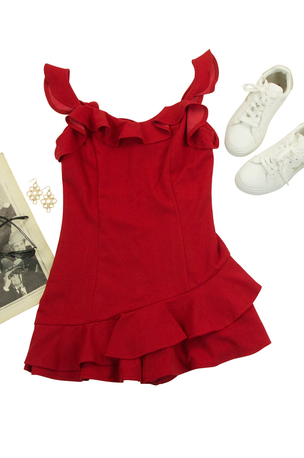 Framed Romper in Red