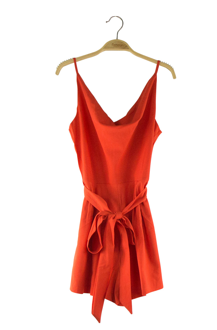 Dripped in Drape Romper in Orange