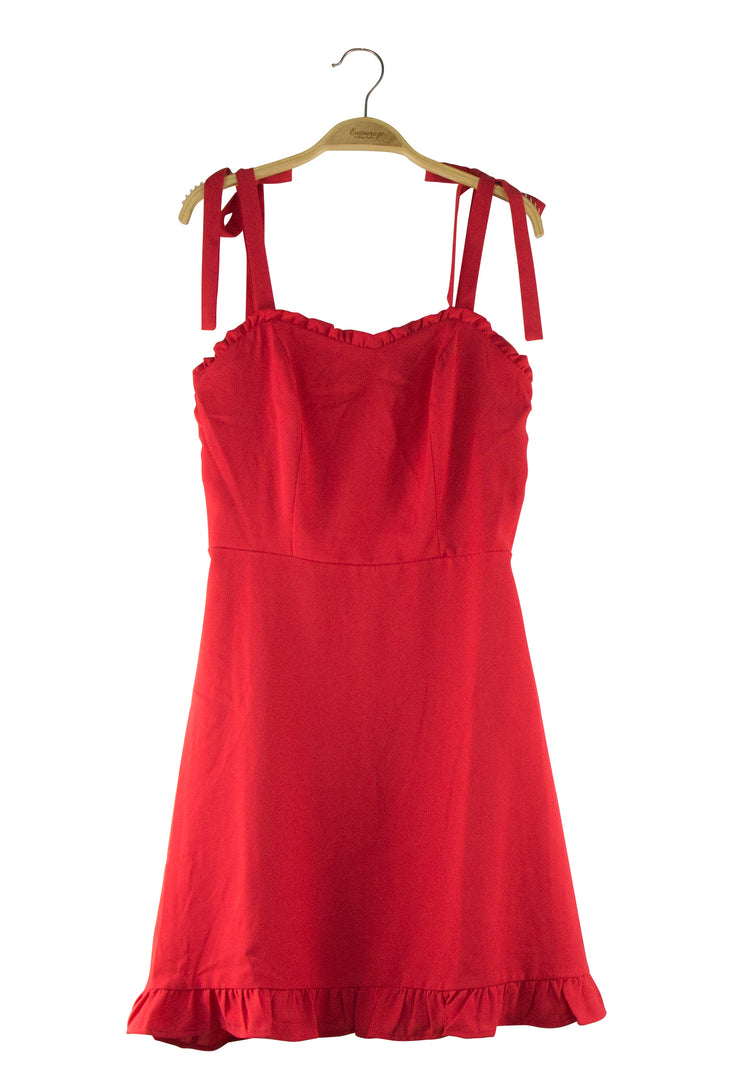 Ruffled Round the Edges Dress in Red