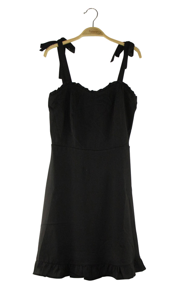 Ruffled Round the Edges Dress in Black