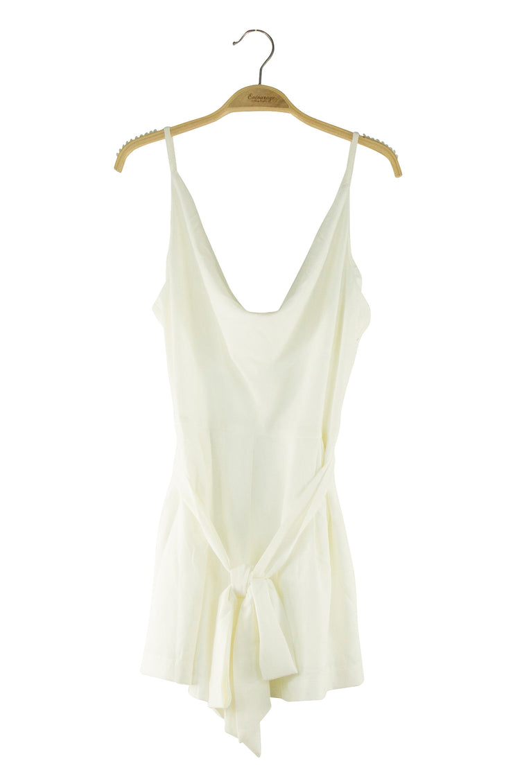 Dripped in Drape Romper in White