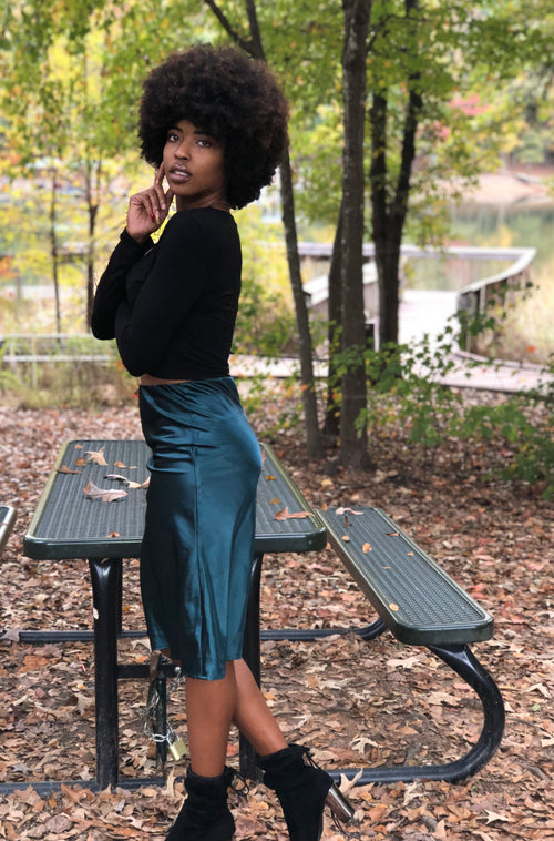 Polished Skirt in Dark Green