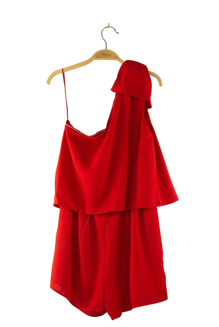 Put a Bow On It Romper in Red