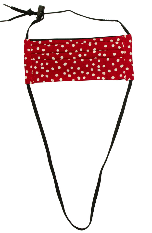 Not Today Corona Mask with Red Polka Dots and Black String