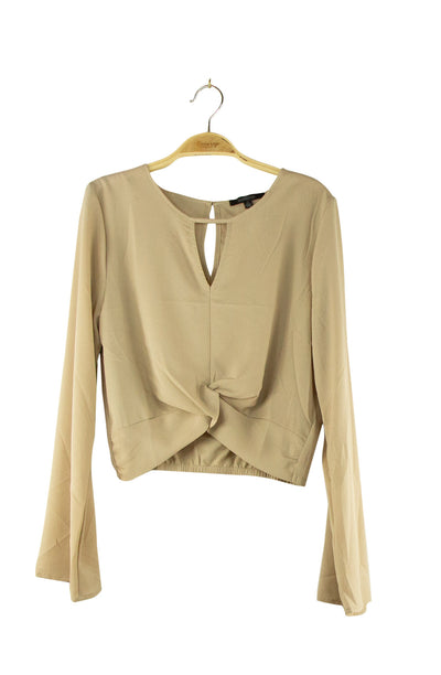 Center of It All Crop Top in Light Brown