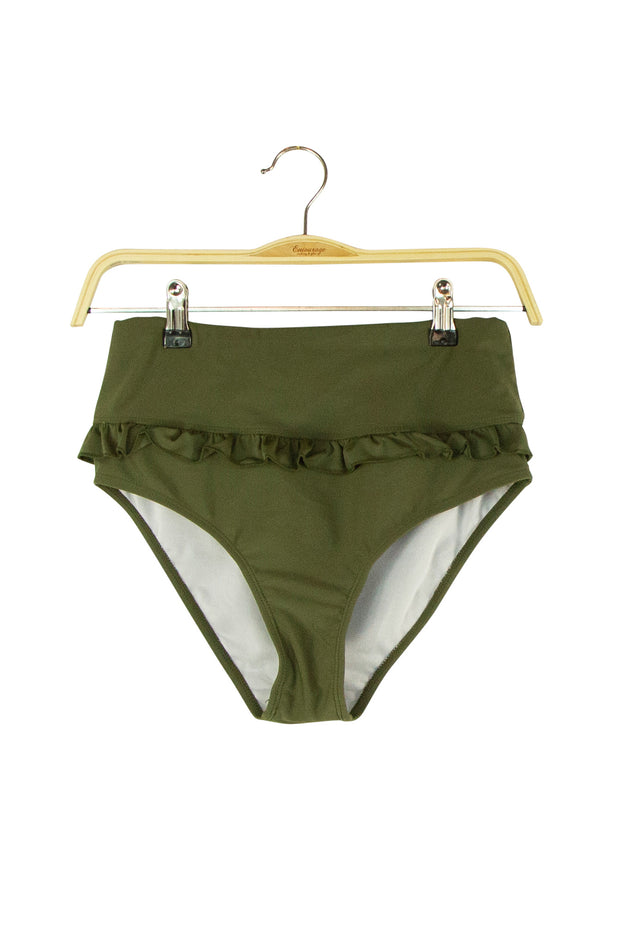 All About the Ruffles Bikini Bottom in Dark Green