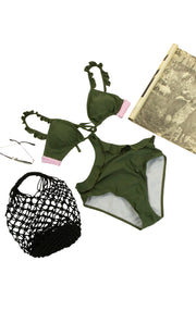 Stay Relaxed Bathing Suite in Dark Green