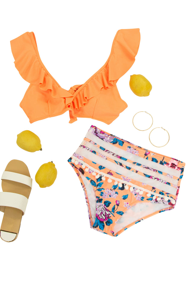 Floral Dreams Bikini Bottom in Orange