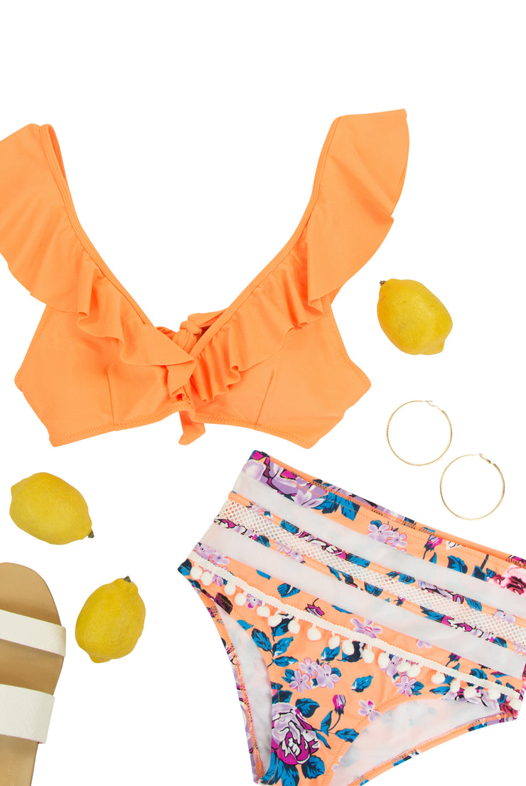 Floral Dreams Bikini Top in Orange
