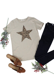 Leopard Star Tee in Tan