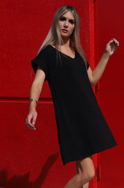 Casual Slay Tee Shirt Dress in Black