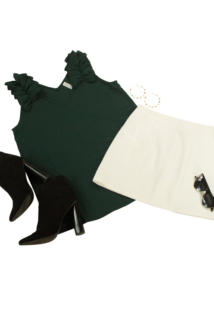 Stay Charming Top in Dark Green