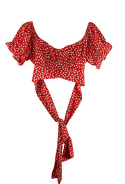 Dotted Line Crop in Red