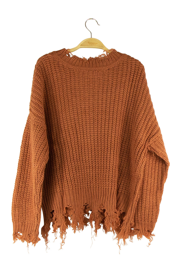 Never Frazzled Sweater in Brown