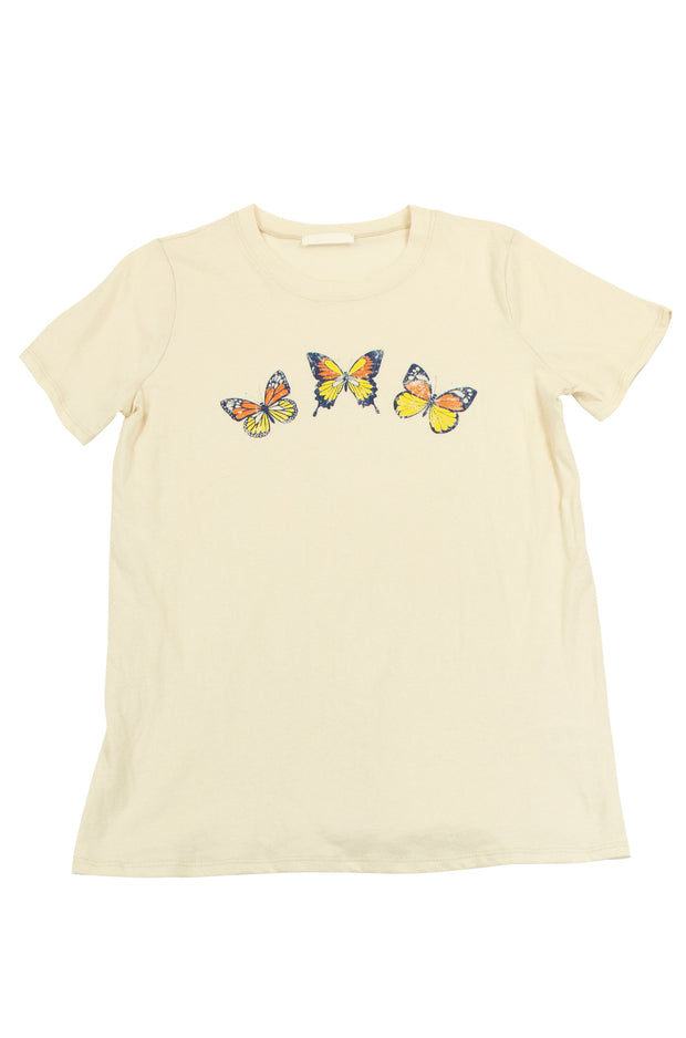 Beautiful Butterfly Tee in Off White
