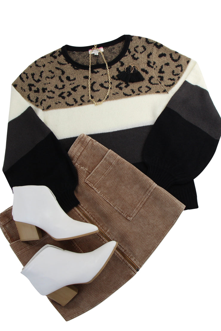 Hit the Spot Sweater in Brown