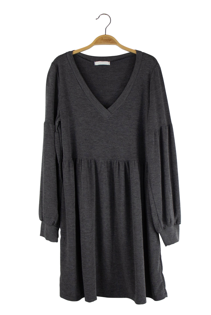 Cozy Up Dress in Dark Gray