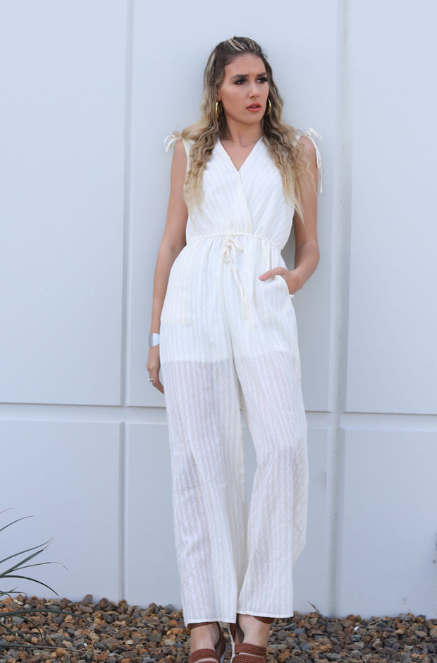 Justice Jumpsuit in Off White