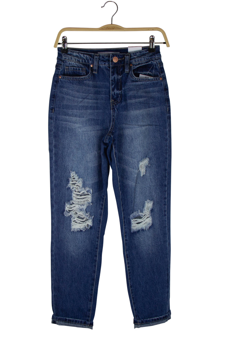 Don't Be Distressed Jeans in Dark Blue