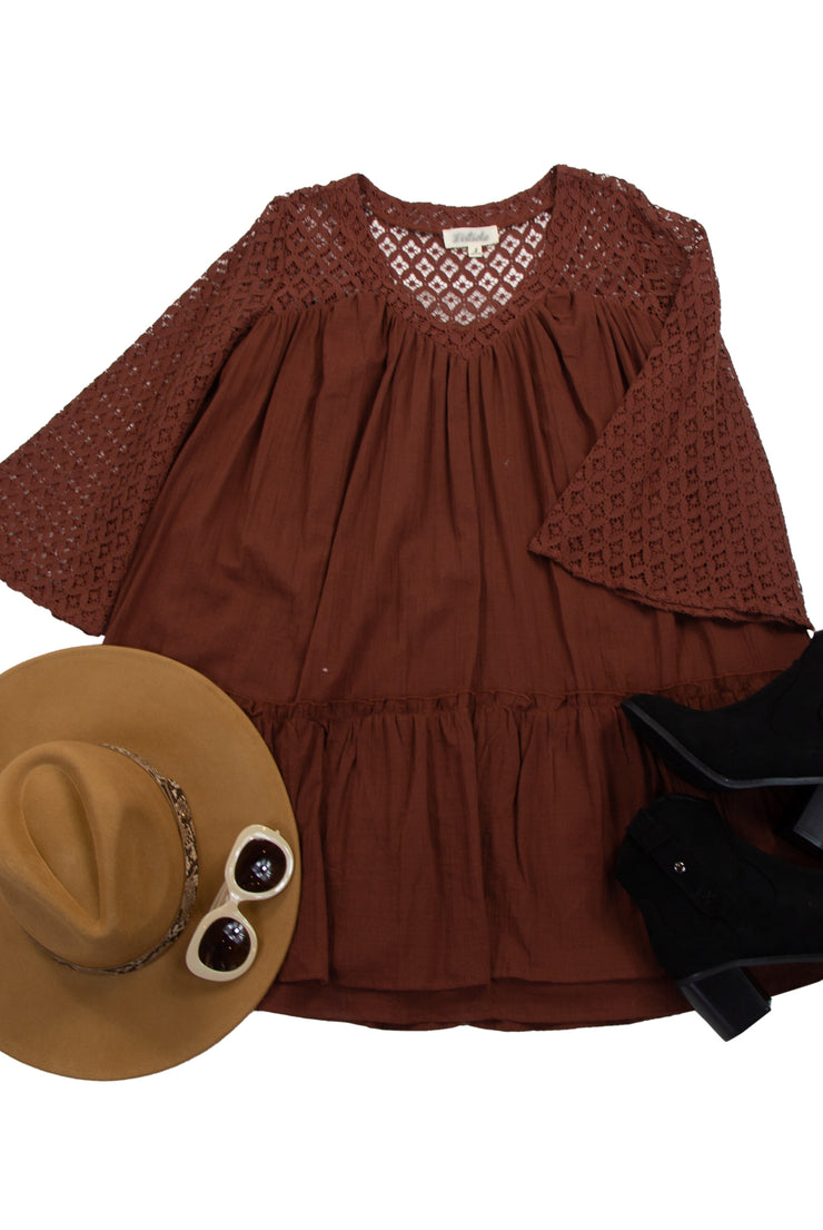 All the Details Dress in Dark Red