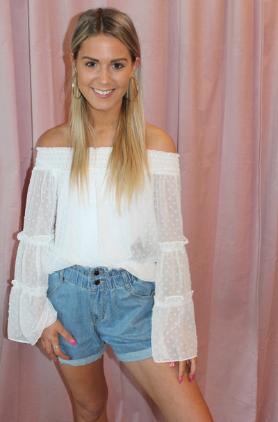 Shoulder to the Grindstone Top in White