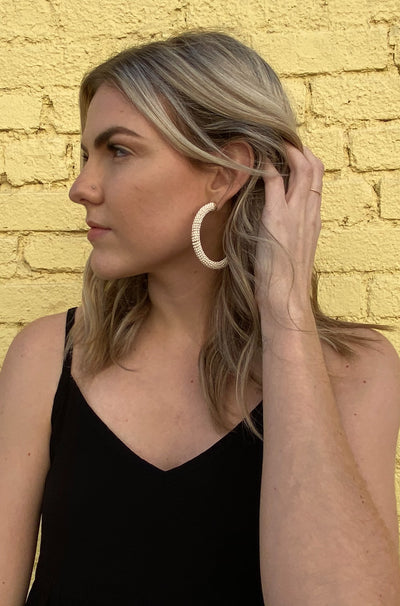 Piqued Earrings in White