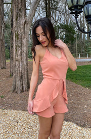 Tulip Romper in Light Orange
