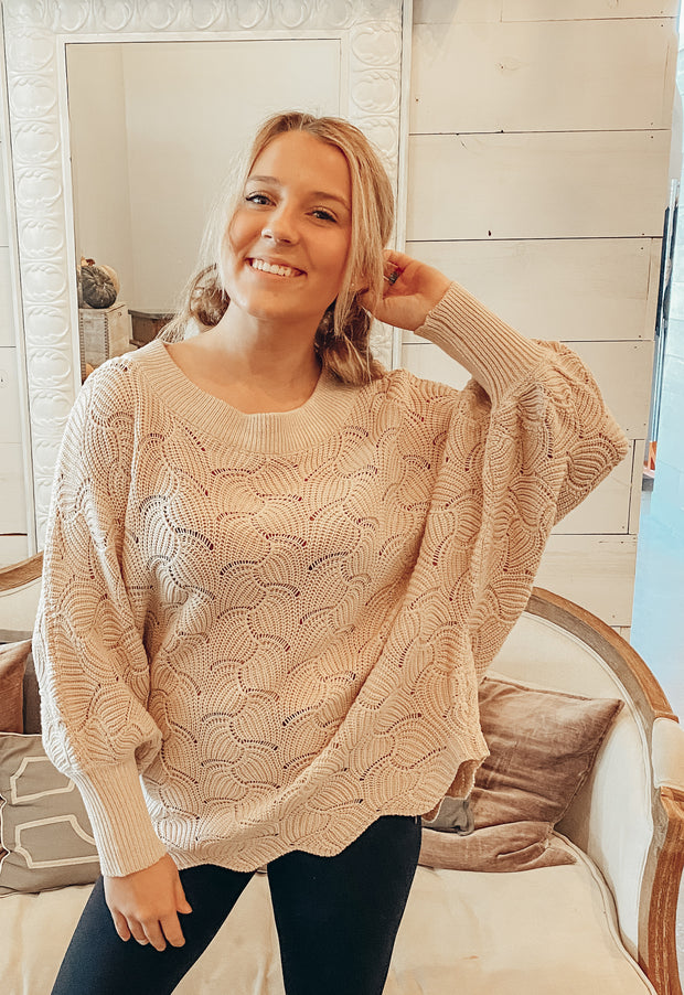 Step Out of Your Shell Sweater in Tan