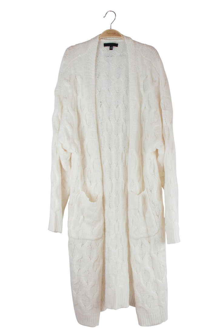 Sheer Content Cardigan in Off White