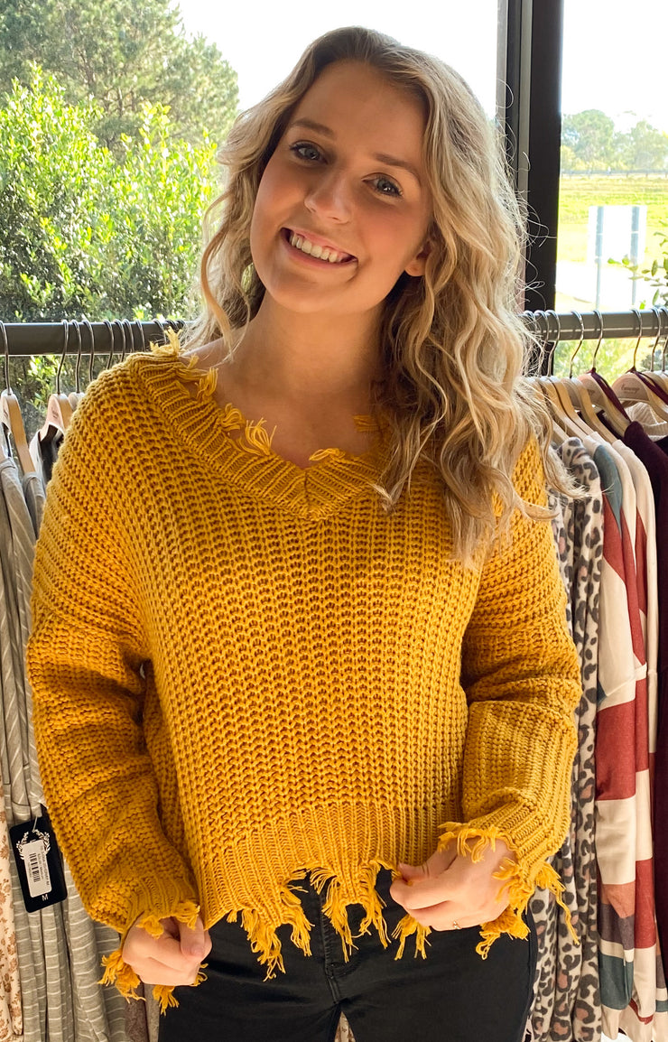 Never Frazzled Sweater in Dark Yellow