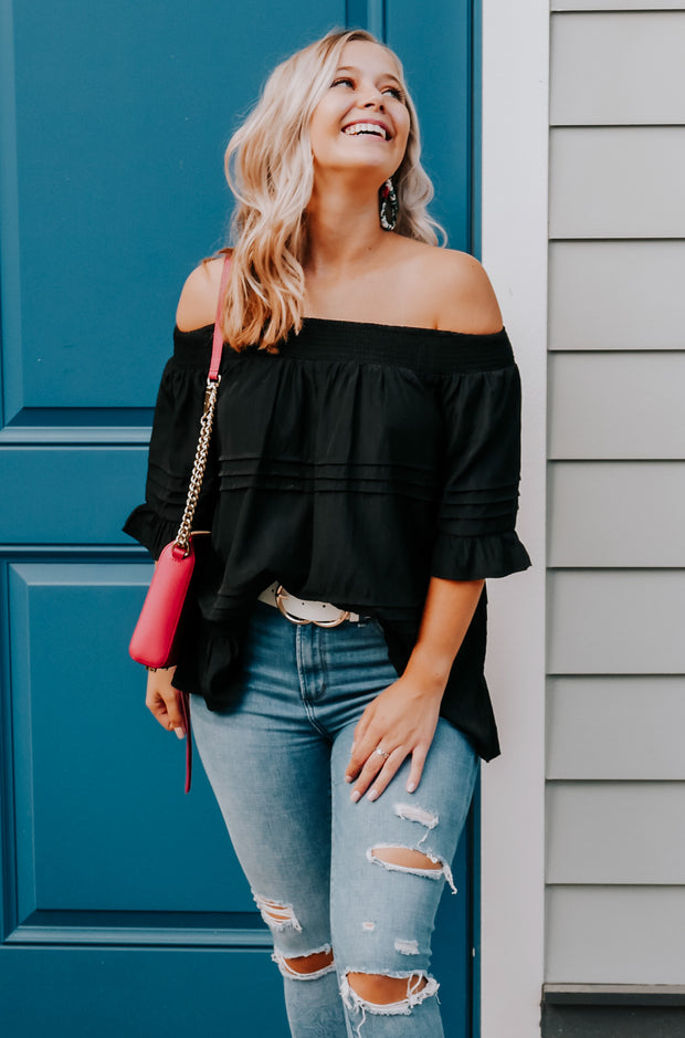 Swept Away Top in Black