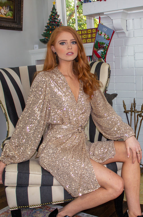 Get the Party Started Dress in Gold