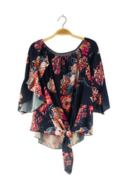 Night Blooms Top in Dark Blue
