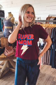 Super Mom Top in Dark Red