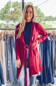 Carmen Trench in Dark Red