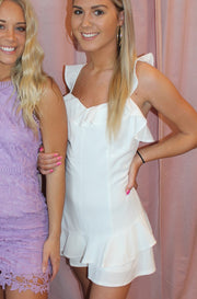Framed Romper in White