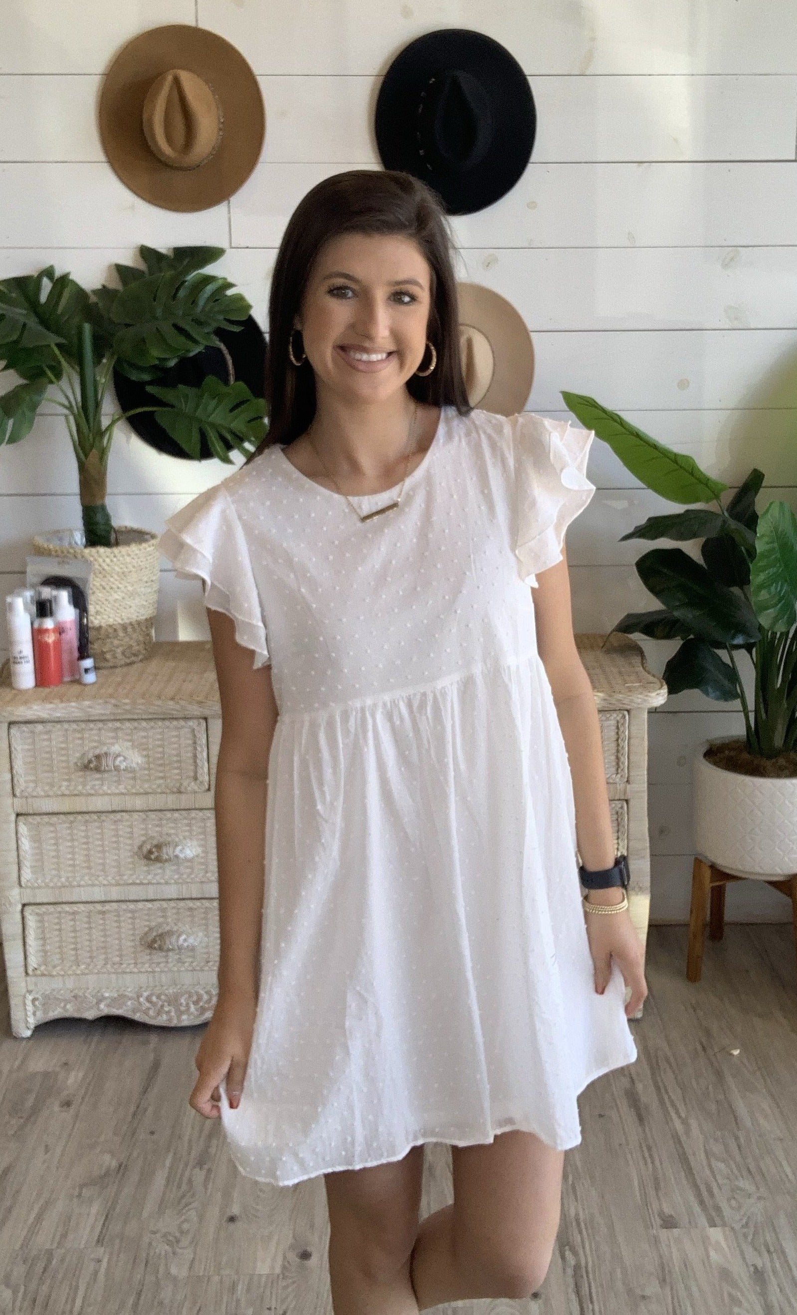 Dote on Me Dress in Off White