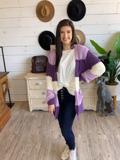 All Abut the Stripes Cardigan in Purple