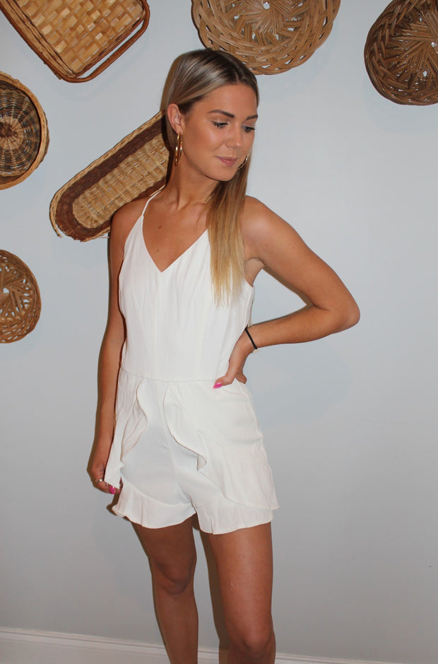 Tulip Romper in White