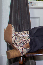 Foot in the Door Booties in Snake Print