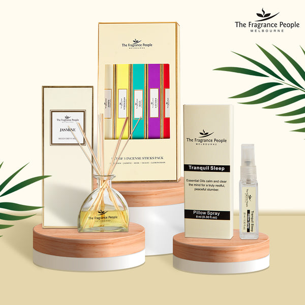 Get 3 Products in 1 Combo ( Reed Diffuser Set Jasmine + Pillow Spray Tranquil Sleep + Incense Sticks Pack - Set of 5 )