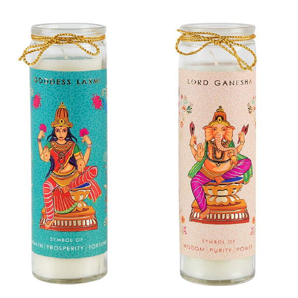 GODDESS LAXMI & LORD GANESHA GLASS CANDLE