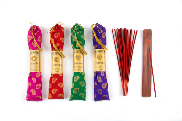 RM 40 INCENSE STICKS PACK IN FABRIC BAG WITH WOODEN HOLDER - The Fragrance People